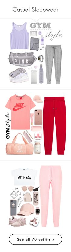 """Casual Sleepwear"" by amyfernandez010 ❤ liked on Polyvore featuring Monki, Reebok, S'well, Native Union, Beats by Dr. Dre, Jayson Home, Slide, Eos, workout and gym"