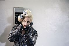 Gaga in her coke can hair rollers in a shot from the Telephone video #LadyGaGa #hair