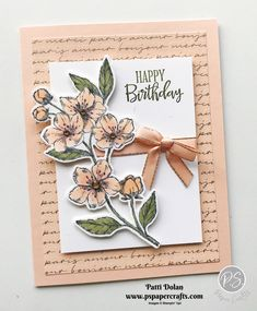 DIY Handmade Birthday Card featuring the Forever Blossoms Bundle and Parisian Blossoms DSP from Stampin' Up! The Forever Blossoms Images are beautiful and the coordinating Cherry Blossom Dies have lots of flowers you can cut out. Birthday Cards For Boyfriend, Birthday Cards For Friends, Kids Birthday Cards, Funny Birthday, Birthday Cards For Kids, Birthday Wishes, Origami Birthday Card, Boyfriend Card, Flower Birthday Cards