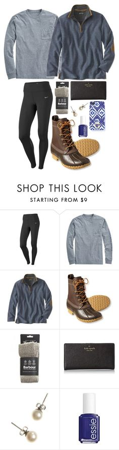 """""""Sunday errands"""" by hbcernuto ❤️ liked on Polyvore featuring NIKE, Vineyard Vines, L.L.Bean, Barbour, Kate Spade, J.Crew, C. Wonder and Essie"""