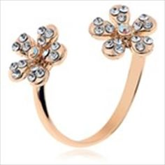 Creative Chrysanthemum Style Finger Ring Jewelry Collection with Rhinestones for Lady Girl