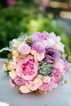 purple peonies succulents bouquet | Villa de Flores Garden Wedding: purple peony and succulent bouquet www ...