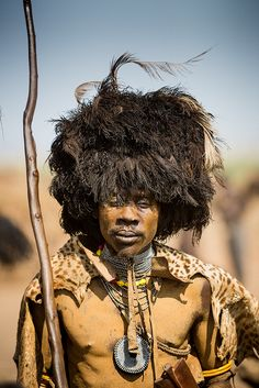 Africa | Dassanech Man Prepared for Dimi Ceremony | ©Sebastian Humphreys