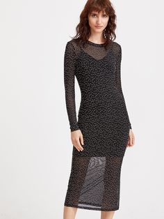 Shop Black Polka Dot Print Side Slit Sheath Dress With Cami online. SheIn offers Black Polka Dot Print Side Slit Sheath Dress With Cami & more to fit your fashionable needs.