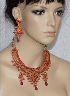 Hot Pink polki stone necklace set