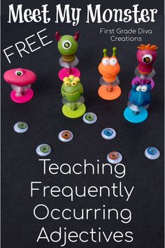 Meet My Monster is a creative way to teach frequently occurring adjectives to first and second grade students. Students select the monster that they wish to adopt, use adjectives and write clever clues to describe the monster they want to adopt. Your class will use critical thinking skills to figure out which monster is being described. Join my e-mail list to get this free download today! #monsteractivities #adjectives #firstgrade #secondgrade #halloweenactivities