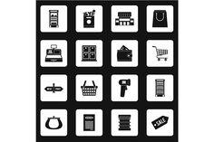 Supermarket icons icons set  @creativework247