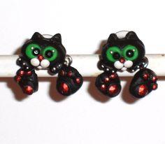 Ohrstecker Katze Damen Ohrringe Ohrschmuck Modeschmuck ohne Stein Fimo