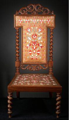 Mikmaq (Maine, New Brunswick or Nova Scotia), Chair, porcupine quills/birch bark/wood, c. 1860.