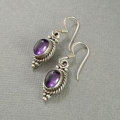 Vintage STERLING Silver Amethyst EARRINGS Gemstone by YearsAfter