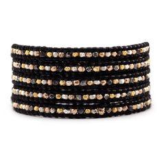 Mixed Nugget Wrap Bracelet on Black Leather - Chan Luu
