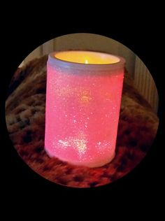 Pink Glitter Fabulous Candles in Our Flat in NC--NOTE the Amazing Leopard throw as well! ♡