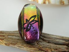 Fused Glass Dragonfly Dichroic Ring Pink Gold by uniquenique, $30.00 #handmade #onfireteam #lacwe #teamfest #accessories #jewelry #ring #dragonfly