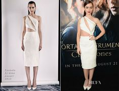 Lily Collins In Cushnie Et Ochs – 'The Mortal Instruments: City of Bones' LA Premiere
