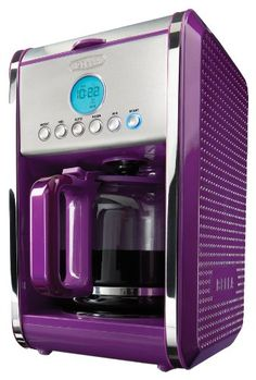 With its unique dot texture, gorgeous colors, and sleek design Bella Dots will bring life to your kitchen and make you smile. No longer must you brew coffee with that same old silver and black box. The Bella Dots Programmable Coffee Machine is unique Purple Bedrooms, Purple Bedding, Purple Kitchen, Purple Home, Prune, All Things Purple, Purple Stuff, Orange Things, Purple Reign
