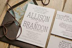 Travel themed wedding invitation, passport wedding invitation, leather twine