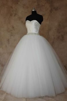 Satin bodice and tulle full gown