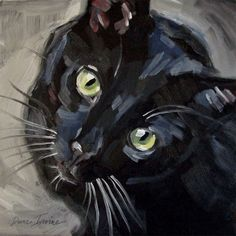 Things Are Looking Up! Original loose oil painting of a black cat looking up. 8 x 8 inches by Diane Irvine Armitage. #OilPaintingCat