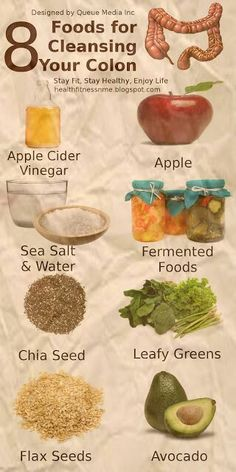 8 #Foods for Cleansing Your #Colon Naturally Apple,Apple cider vinegar,Sea Salt & Water,Fermented Foods,Chia Seed,Leafy Greens,Flax Seeds