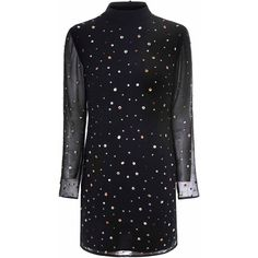 Black Multi Coloured Bead Shift Dress ($44) ❤ liked on Polyvore featuring dresses, black, long beaded dress, sheer long sleeve dress, sequin party dresses, long cocktail dresses and long sequin dress