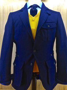 Saharienne en flanelle, bleu marine, 100% laine vierge! Pull col V Laine & Cashmere jaune vif! #WicketSoBritish