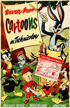 "Warner Bros. Cartoons - Merry Melodies poster from 1946, advertising ""The Great Piggy Bank Robbery"""