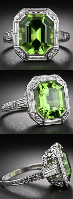 Art Deco ~ Peridot, Platinum and Diamond Ring, A stunning and sophisticated Art Deco delight - circa 1930