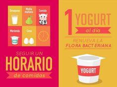 Es recomendable comer un yogurt al día para limpiar la flora intestinal