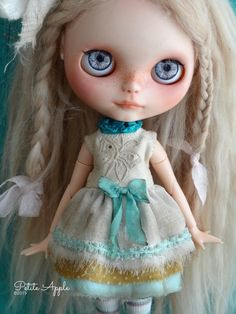 Blythe doll outfit  OOAK grunge vintage embroidered dress by marina, $64.00 USD