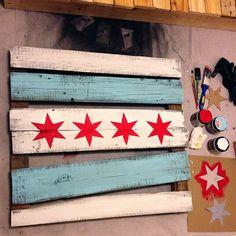 Self pin!  Chicago Flag pallet art