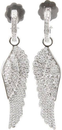 Garrard 'Wings' earring - Silver 18ct white gold 'Wings' earring from Garrard featuring a pin fastening, a diamond set hoop with a suspended earring and a diamond set wing.
