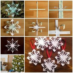 Wonderful DIY Woven Paper Star Snowflake Ornaments | WonderfulDIY