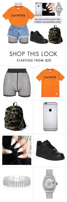 """""""you are so lame but in the hottest way possible omfg"""" by virgdollasign ❤ liked on Polyvore featuring Bitching & Junkfood, Levi's, NIKE, Red Herring and Rolex"""