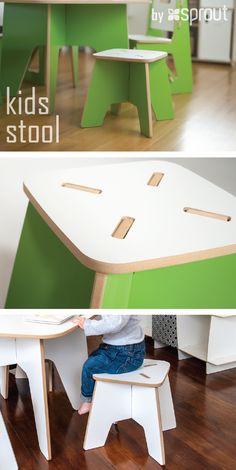 The Sprout Kids Table and Stools are perfect for drawing, play, or projects. They are made just the right size so you won't have to worry about potential falls, securing a booster seat, or helping you