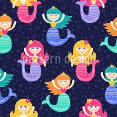 Vector seamless pattern with flat mermaid girls. Colorful sea background for kids. Water nymph with doodle ornament on navy background. Vector Pattern, Pattern Design, Mermaid Vector, Mermaid Illustration, Cute Mermaid, Starter Set, Free Vector Graphics, Illustrations, Clip Art