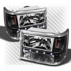 93 98 Jeep Grand Cherokee 3in1 Bumper Corner LED Headlights Blk Head Lights Set   eBay $158.99
