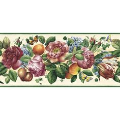 Wall Paper Borders For Kitchens High Gloss Kitchen Cabinets 27 Best Wallpaper Images Sunworthy 9 1 4 Floral And Fruit Trail Prepasted Border At Lowes Com