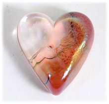 Robert Held Art Glass Paperweight Heart Iridescent Red Hand Made