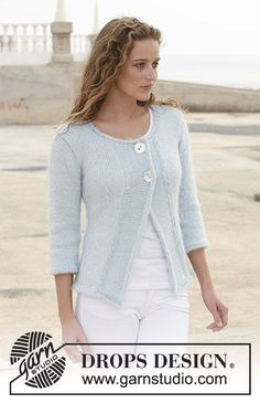 DROPS jacket in Symphony with ¾ sleeves, wide front bands and rolling edges. Size S – XXXL. Free knitting pattern by DROPS Design. Knit Cardigan Pattern, Sweater Knitting Patterns, Crochet Cardigan, Knitting Designs, Knit Patterns, Free Knitting, Knit Crochet, Drops Design, Knit Jacket
