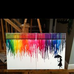 Crayon art. Hot glue crayons on a canvas and blow dry.