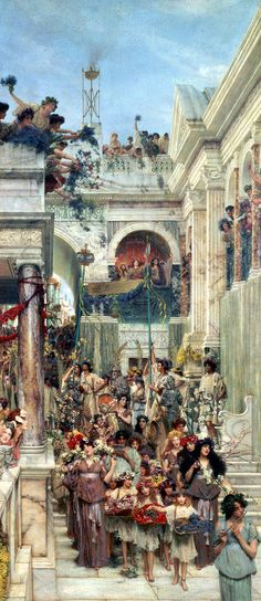 Sir Lawrence Alma-Tadema - Spring, 1894 (LARGE/HQ) The actual painting has brighter colors. I remember my friend Diane introducing me to this at the Getty Museum in the late I bought a poster and put it in my dorm room. Lawrence Alma Tadema, Spring Painting, Spring Art, Charles Edward, Pre Raphaelite Paintings, Architecture Antique, Getty Museum, Dutch Painters, Art Moderne