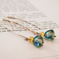 """Teal Quartz Citrine Gold Hoop Earrings Wire Wrapped by """"LoveJaneJewelry"""" on Etsy"""