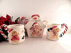 Gingerbread House Tea Pot with Two Mugs Hand Painted Ceramic Serving Set Cottage Christmas Dishes Collectible Holiday Home Decor