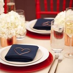 Red, White Blue Wedding: Use reds and blues to a basic white table scape for this patriotic wedding Blue Table Settings, Wedding Table Settings, Place Settings, Setting Table, Wedding Themes, Wedding Decorations, Wedding Ideas, Wedding Stuff, Table Decorations