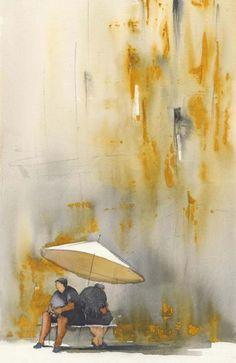 Kvinnor i farten   annatornquist Watercolor Artists, Watercolor Paintings, Watercolors, Flower Paintings, Anna, Mixed Media Art, Les Oeuvres, Abstract Art, Illustration
