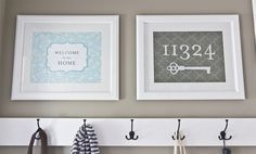Maybe I can make something similar with my cricut? Very Cute!  For entryway across from mudroom- Etsy Custom House Number Art Print / Choose your Colors & Background / 8x10 $20