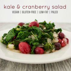 Sautéed Kale & Cranberry Salad #vegan #glutenfree #lowfat | VegAnnie.com