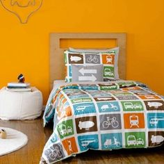 Dwell Studio Transportation Set. Had this Crib Bedding and love it so much, I want it for his big boy bed as well.