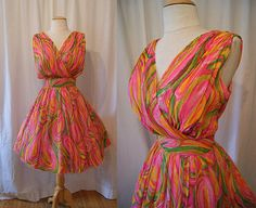 Sexy 1950's 1960's Elizabeth Taylor style vibrant by wearitagain, $175.00