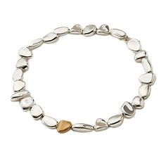 Pebble Collection Necklace, in Sterling Silver and 18kt Yellow Gold